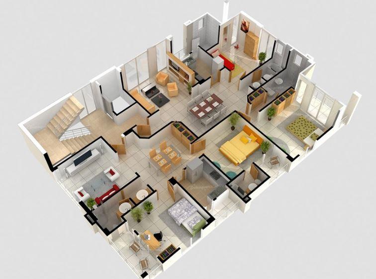 Planos de casas 1 2 plantas modernas 3d lujo etc - Planos de casa en 3d ...
