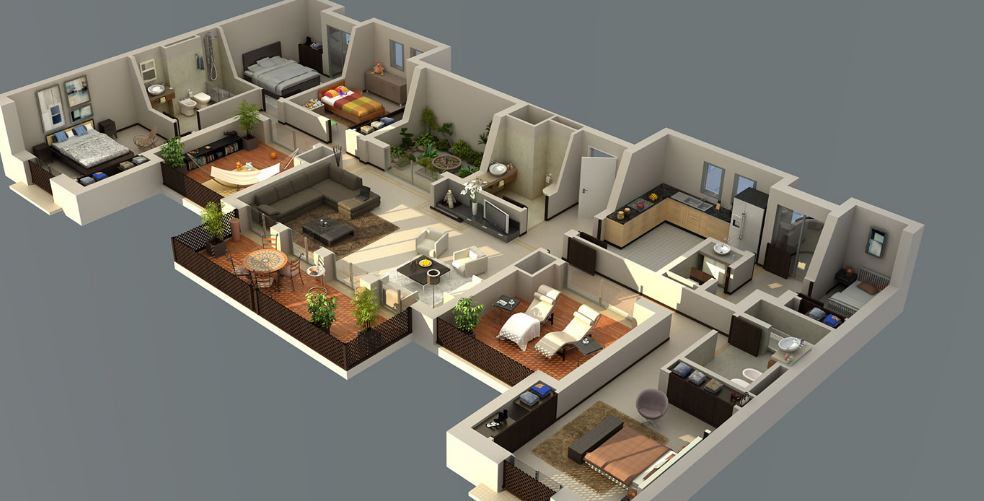 Planos de casas 1 2 plantas modernas 3d lujo etc for Casa minimalista 2 dormitorios